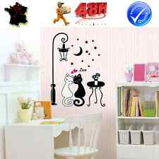 STICKER AUTOCOLLANT AUTO ADHESIF MURAL DECORATION CHAT ROMANTIQUE CARTOON ENFANT