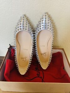 CHRISTIAN LOUBOUTIN 37 Shoes Pigalle Spike Point Silver Leather $1195