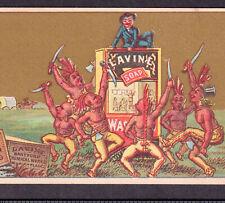 Indian 1800's Wagon Train Attack Lavine Soap Victorian Advertising Trade Card