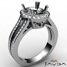 Oval Semi Mount 0.94Ct Diamond Engagement Halo Ring 18k White Gold Split Shank