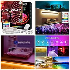 Waterproof LED Strip Lights RGB Color Changing Light Strip+Remote+Power Clips