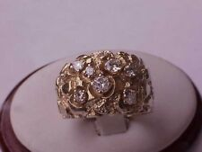 Vintage 10K Yellow Gold 1.55ct Diamonds Nugget Wedding Ring Band Heavy 10.6gr