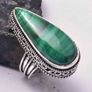 Malachite Ethnic Handmade Antique Degin Ring Jewelry US Size-6.5 AR 32940