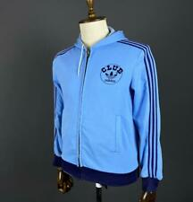 Rare Vintage 70s Adidas Club Ventex Blue Zip Up Hooded Track Jacket Size M