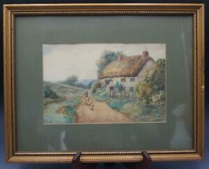 19C English Watercolor Landscape Painting Country Cottage Signed E. Morgan