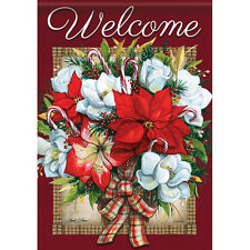 "Flowers of Christmas Welcome House Flag  28"" x 40"" Double sided by Carson Winter"