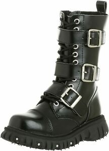 T.U.K SHOES  3 STRAP/BUCKLE  BLACK LEATHER BOOTS (A6055) 2012 BRAND NEW!