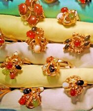 Close out Lot of 16 Genuine Gemstone base metal electroplated rings