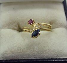 VINTAGE MOLTO BELLO 18ct Oro Rosa E Blu TOPAZIO E Anello Di Diamanti Taglia I.1/2