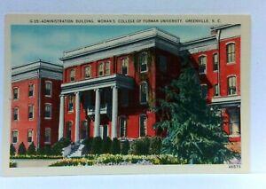 Greenville SC Womans College Of Furman University Building Linen Postcard