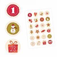 24 Adventskalender Zahlen Aufkleber BEIGE Retro-rund 4 cm Ø-Sticker Weihnachten