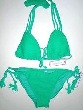 Womens Designer Bisou Bikini M / L Swim Fringe Green Jade $88 Cut Outs HOT JCP