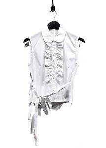 Miu Miu White Sleeveless Ruffle Details Blouse
