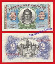 ESPAÑA SPAIN 2 Pesetas 1938 REPUBLICA Pick 95 SC / UNC