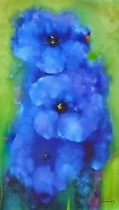 Victoria Montesinos Blue Garden HAND SIGNED Embellished Multimedia 50x30 Canvas