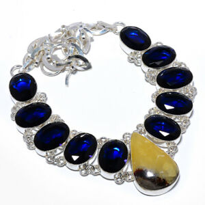 """Septerian Stone & Blue Sapphire 925 Sterling Silver Necklace 17.99"""" M1531"""