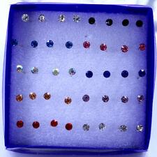 Lot 20Pairs 3mm Multicolor Round Rhinestone Plastic Hypoallergenic Stud Earrings
