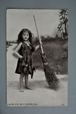 R&L Postcard: Star Series, Give Me a Copper, Girl & Sweeping Brush Broom