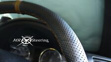 Para Mazda 2 Negro Cuero Perforado Volante Cubierta 2002-2007 + Correa Marrón