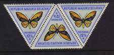 INDONESIA MALUKU SELATAN 3 TRIANGLE BUTTERFLIES MINT NEVER HINGED MNH