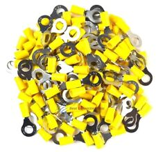 "100 Pieces Vinyl Yellow 5/16"" Ring Terminal Connector 12 - 10 Gauge AWG Scosche"