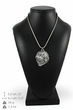 Polish Lowland Sheepdog - silver plated necklace on silver cord, Art Dog Usa