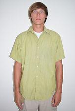 Vintage 50's 60's Gant The Hugger Green Striped Cotton Short Sleeve Shirt Size M
