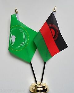 Malawi & African Union Double Friendship Table Flag Set