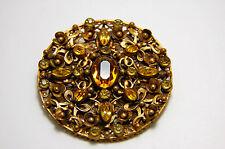 Very Large Vintage Czech Brass Filigree and Topaz Paste Glass Stones - Edwardian