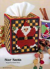 STAR SANTA TISSUE BOX COVER CHRISTMAS PLASTIC CANVAS PATTERN INSTRUCTIONS