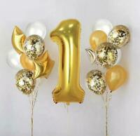 """32"""" 1st Birthday Party Number Foil Balloon Air Fill Pink Blue Gold ONE Baloons"""