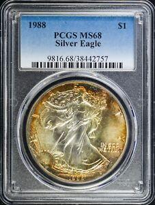 1988 Silver Eagle $1 PCGS MS68 ORIGINAL TONING!