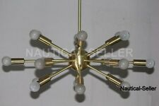18 Lights Mid Century Modern Brushed Brass Sputnik Chandelier light fixture