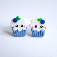 Funny Kawaii Emoji Cupcake Muffin Blueberry Fruit Girls Gifts Earrings Jewelry