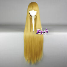 Golden Blonde 100CM Long Straight Hair Lolita Anime Synthetic Cosplay Wig + Cap