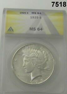 1925 PEACE SILVER DOLLAR ANACS CERTIFIED MS64 FLASHY WHITE #7518