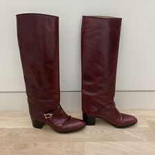 Rare Vintage Ottorino Bossi Heeled Tall Red Riding Boots Handmade in Italy 38/8