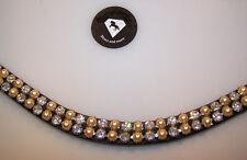Stirnriemen geschwungen Strass und goldene Perlen  WB 41 cm