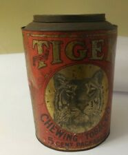 Vintage Tiger Chewing Tobacco 5 Cent Package Large Tin - PreOwned