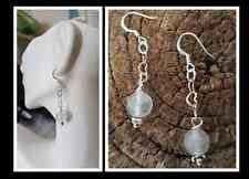 Nirvana Quartz Himalayan Water Ice Quartz HEART Love Sterling Silver Earrings