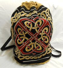 CELTIC Knot Infinity Endless Medieval Cotton BACKPACK Drawstring Hippie Book BAG