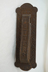 ANTIQUE DOOR KNOCKER AND MAIL SLOT LETTERS CAST IRON KENRICK NO 445 hardware