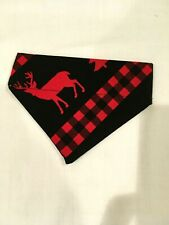 Over Collar Slide On Pet Dog Cat Bandana Scarf   RED PLAID DEER  SMALL
