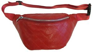 Quilted Pattern Soft Faux Leather Fanny Pack Waist Bag One Zipper Pocket 5 Color