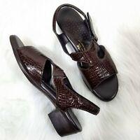 SAS Tripad Comfort Sandals 9.5N Narrow Brown Crocodile Embossed Hook n' Loop