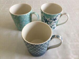 Denby Monsoon Home Mugs X 3 Aqua/Blue/Light Cream.