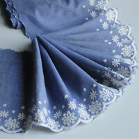 2yds 100% Cotton Lace Trim Denim Blue Embroidered Ribbon Fabric Hem 5.9'' Width