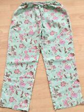 BODEN  green floral linen  crop  trousers 10R  NEW stretch waist