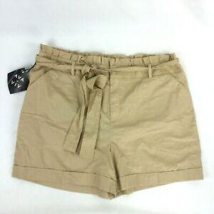Ava & Viv High-Rise Midi Shorts Plus Size 22W NEW cotton linen blend desert wood