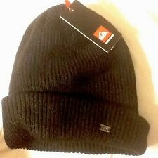 MENS QUIKSILVER BEANIE HAT BLACK Ribbed CAP ONE SIZE